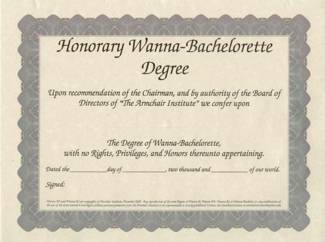 Honorary Wanna-Bachelorette Degree