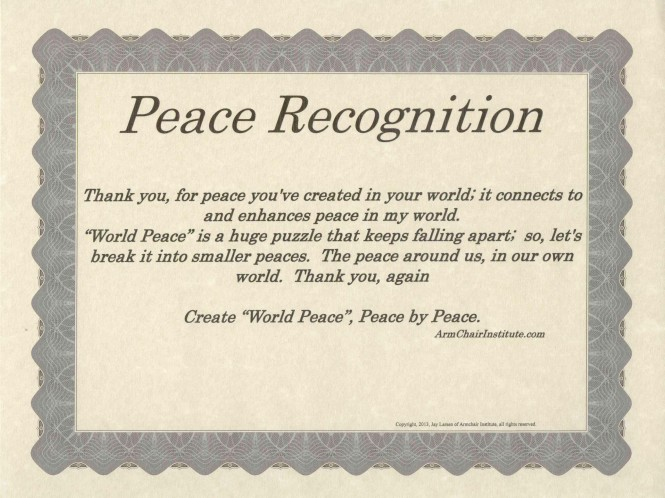 This provides an option to send a PEACE RECOGNITION online.